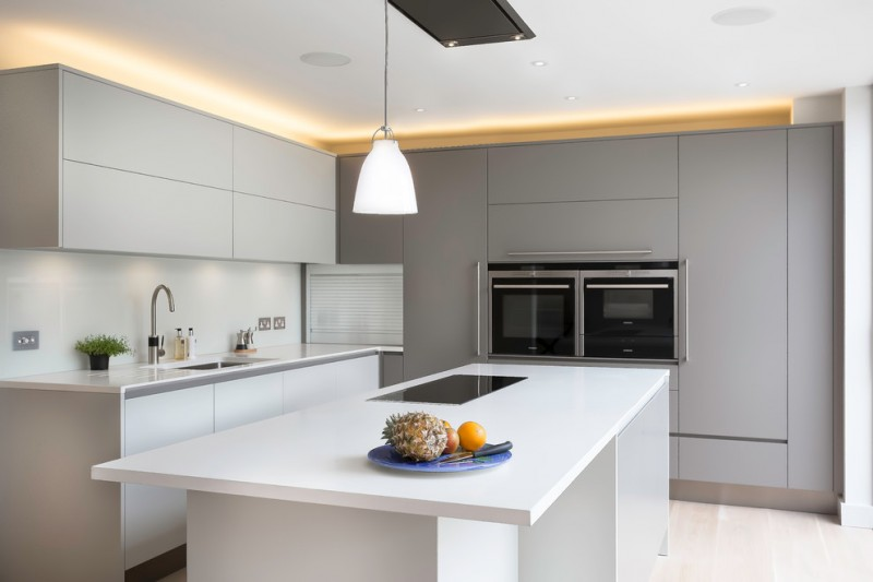 compact kitchen units caravaggio pendant light gray and white kitchen unit nice back cabinet lamps small faucet