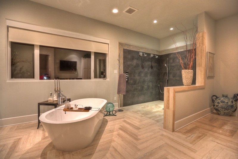 Eco friendly cork flooring for bathroom ideas decohoms for Large bathroom designs pictures
