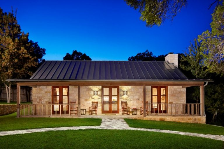 Country Home Exterior With Metal Roof, Light Stones Wall Exterior, Wooden  Frame Glass Doors