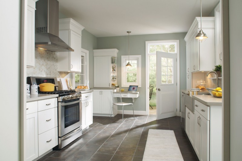 country kitchen paint color wall cabinets cool floor fridge stove hanging lamps faucet sink chair traditional kitchen
