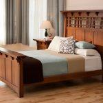 Craftsman Bedroom Design Dark Hardwood Bed Frame With Higher Headboard Multicolored Bed Linen Light Toned And Gloss Wood Floors