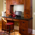 Craftsman Home Office Idea With Dark Hardwood Working Desk Medium Toned Wood Floors Tribal Colored Area Rug