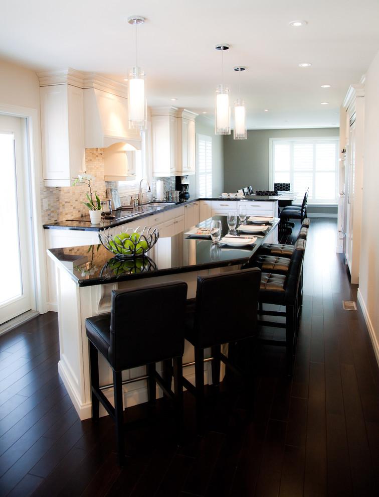 design your own kitchen layout frost light pendant black curved bar breakfast island black bar stools white cabinet dark wood flooring