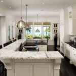 Design Your Own Kitchen Layout U Shaped Kitchen Island Marble Countertop White Cabinet Pratt Street Metal Pendant Light
