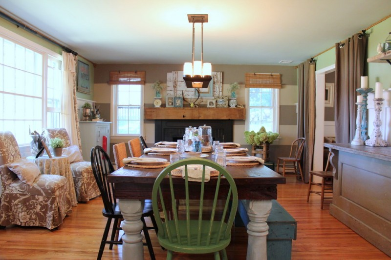 dining room table with bench and chairs beautiful floor shelf big windows curtains plants lamps farmhouse style