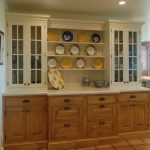 Farmhouse Dining Room Design With White Original Wood Colored Corner Cabinet System Terracotta Floors White Walls