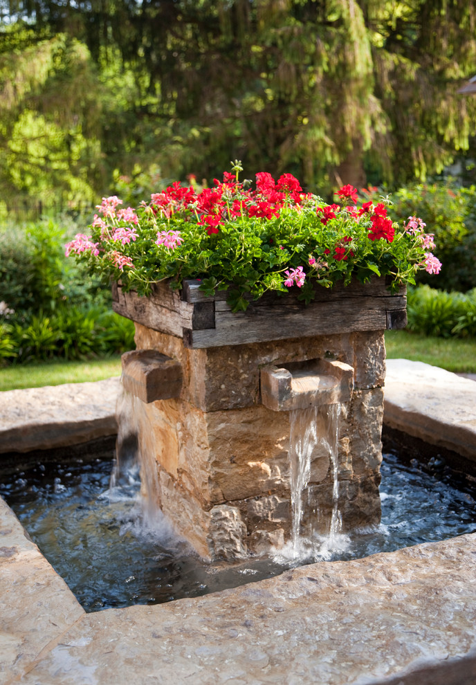 front yard fountains flowers pond travertine walls farmhouse design