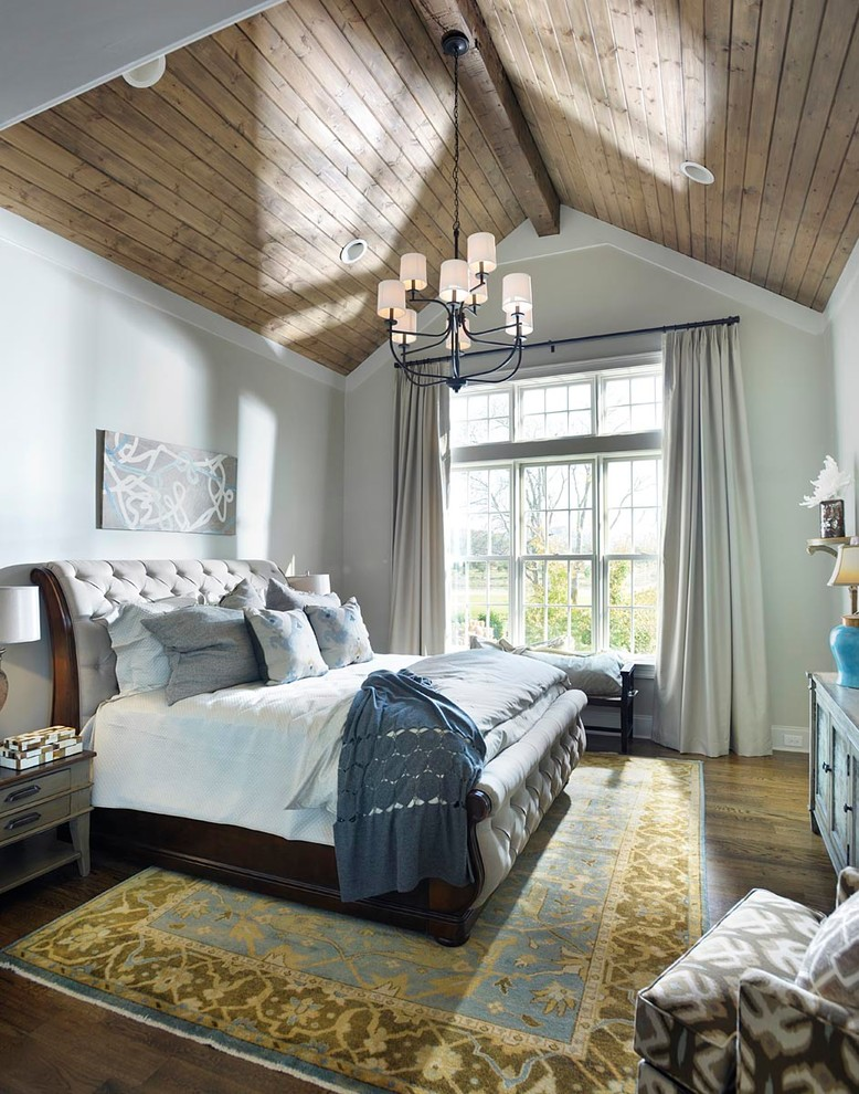 grayer bedroom idea steel blue blanket white bed sheet dark wood bed frame dark hardwood floors wood siding ceilings light grey walls & curtains