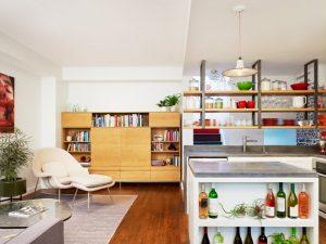 hanging shelves from ceiling cabinet hardwood floor lounger footrest bookshelves table pendant sink contemporary design