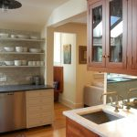 hanging shelves from ceiling cool backsplash sink cabinets countertop hardwood floor pendant traditional design
