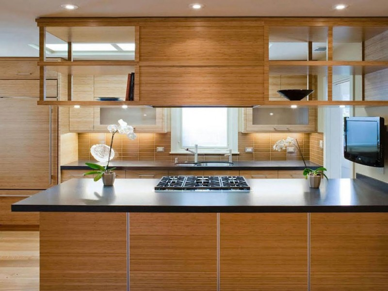 hanging shelves from ceiling lights wood cabinets wall mounted tv hardwood floor solid surface countertop contemporary design