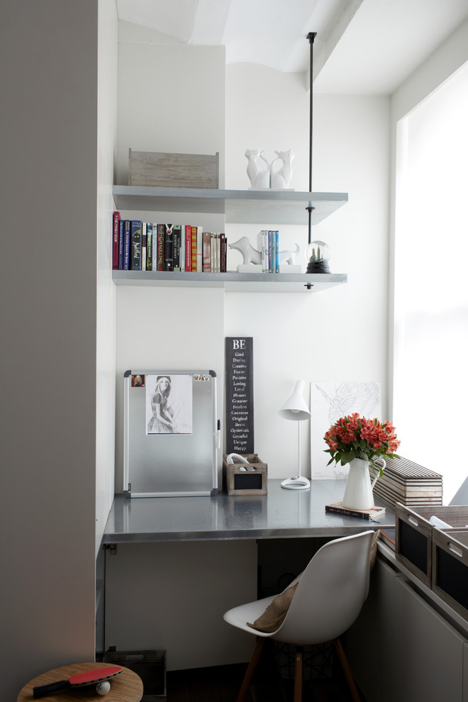 hanging shelves from ceiling office chair sidetable desk window books contemporary design