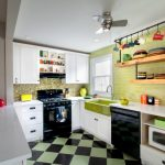 Hanging Shelves From Ceiling Subway Tiles Backsplash White Cabinets Glass Pendant Fan Farmhouse Sink Ceramic Floors