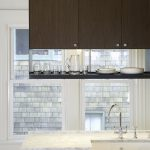 hanging shelves from the ceiling cabinet sink faucet windows glasses plates contemporary kitchen with cool design