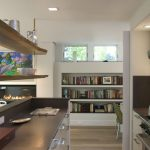 Hanging Shelves From The Ceiling Dark Countertop Ceiling Lights Bookshelves Books Small Windows Chair Modern Kitchen