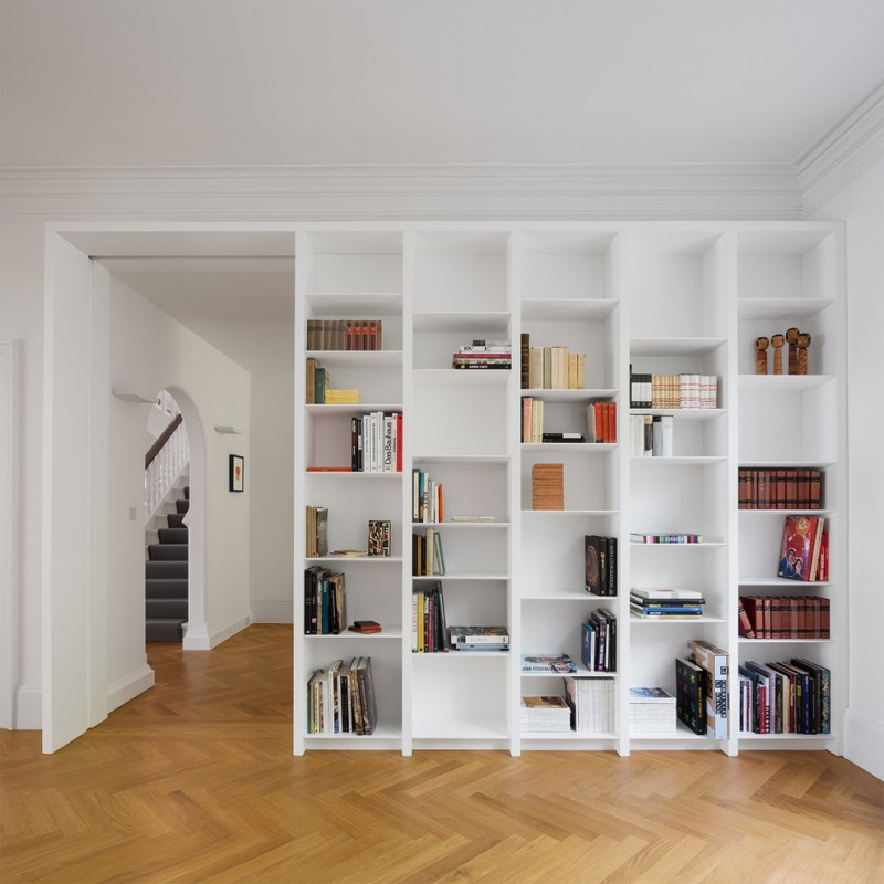 home library shelving white unique bookshelf corner library wood flooring with herringbone design