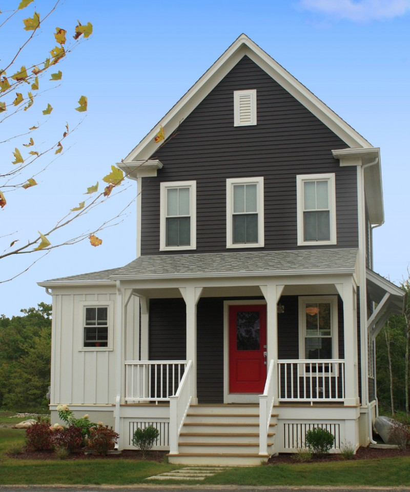 house skirting ideas stairs railings windows red door plants grass pillars farmhouse exterior