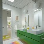 Kate Spade Bathroom Colourful Carpet Coolf Floor Towel Rack Mirrors Faucets Midcentury Room