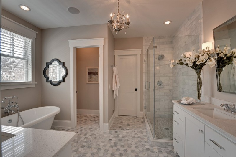 kate spade bathroom mirrors flower window bathtub ceiling lights shower chandelier traditional bathroom