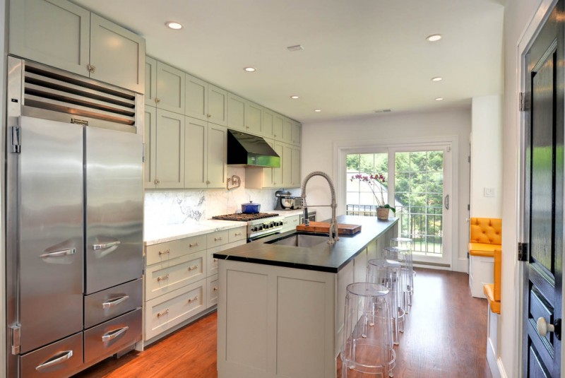 kitchen cabinets clearance clear stools island ceiling lights fridge beautiful floor light green cabinet contemporary room