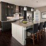 kitchen cabinets clearance dark floor chairs island hanging lamps stove transitional room