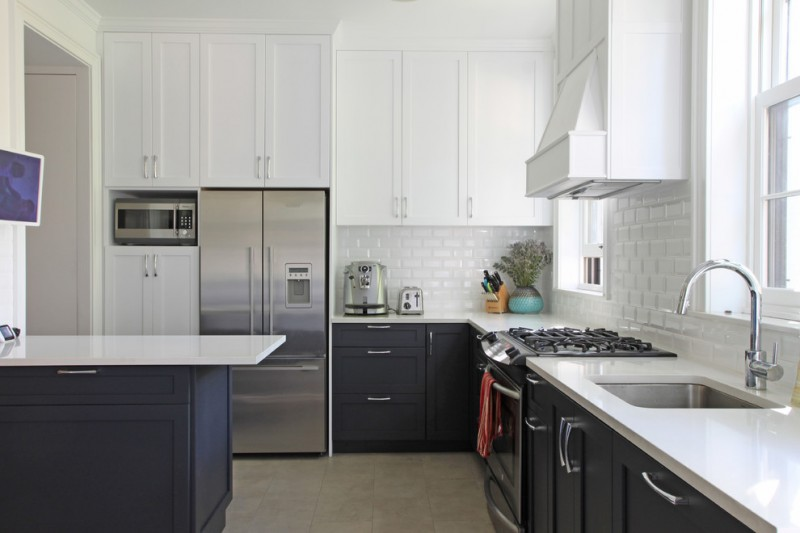 kitchen cabinets clearance white countertops sink faucet fridge stove transitional room windows