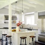 Kitchen Island With Seating For 4 Quartz Countertop Stools White Backsplash Shaker Cabinets Pendants Sink Stainless Steel Appliances Midcentury Design