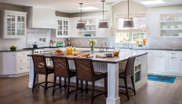 large kitchen islands with seating and storage cabinets chairs shelves drawers faucets flowers stove beach style room