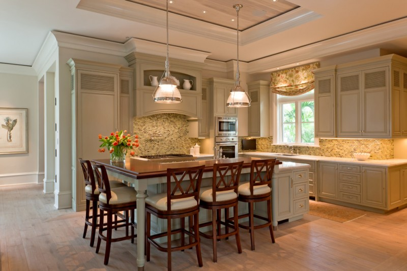large kitchen islands with seating and storage chairs flowers cabinets window stove oven lamps traditional style room