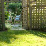 lattice fence designs sunbrella bench chair stone pavers eclectic design