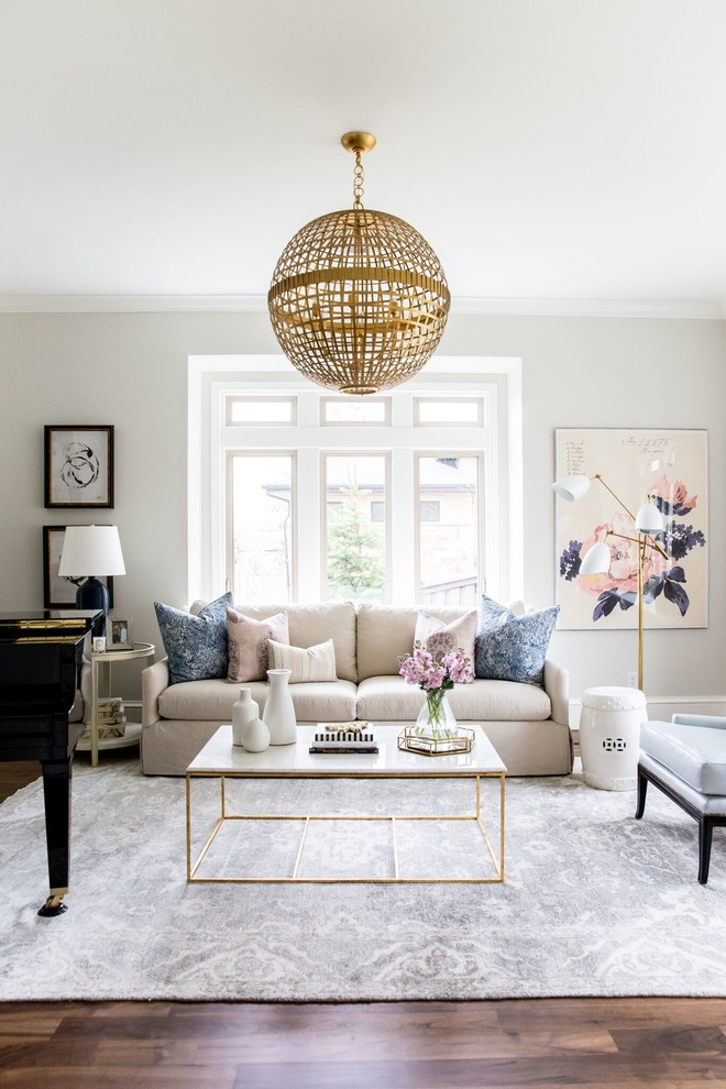 Living Spaces Couches Beautiful Floor Pillows Table Flowers Painting Chair  Windows Lamp Chandelier Carpet Transitional Room
