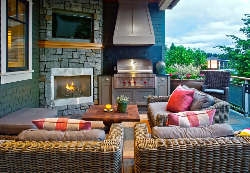 Cozy Outdoor Corner Fireplace With Grill