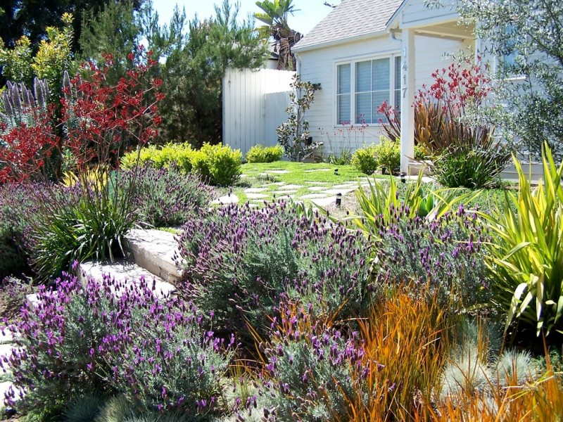 mid sized traditional full sun front yard formal garden with a garden path and concrete pavers slope site glass window deck wooden wall