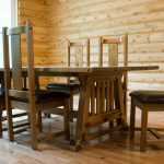 Mission Style Dining Table Made Of Solid & Reclaimed Wood Medium Toned Wood Floors Logs Walls Idea