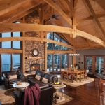 Mountain Home Floor Plans Dark Hardwood Flooring Spacious Ceiling Curve Dark Brown Couches Round Glass Table Screened Home Glass Windows Sliding Glass Door Nice Square Dining Table