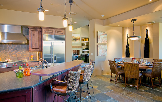 mountain home floor plans soft tile high kitchen bar barstools rattan dining chairs and round wood table refrigeratot mount cabinet