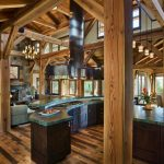 Mountain Home Floor Plans Wood Flooring Transitional Kitchen Dining Area And Living Room Same Designs Chandeliers Fireplace Screened Home Granite Countertop
