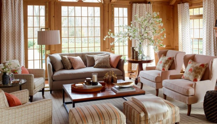nate berkus furniture chairs flowers table couch curtains wooden ceiling pillows lamp traditional living room