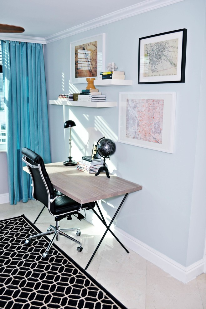 nate berkus furniture desk office chair mini globe carpet ceramic floors framed painting hanging bookshelves curtain contemporary design