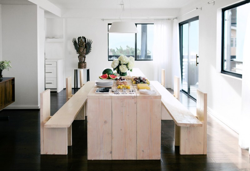 nate berkus furniture long benches narrow table pendant hardwood floors windows glass door decorations beach style