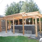Oak Pergola Idea With Multilevel Roofs Pavers Flooring Idea