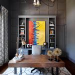 office decor ideas for work carpet chairs desk painting shelves books lamp curtain chandelier transitional home office