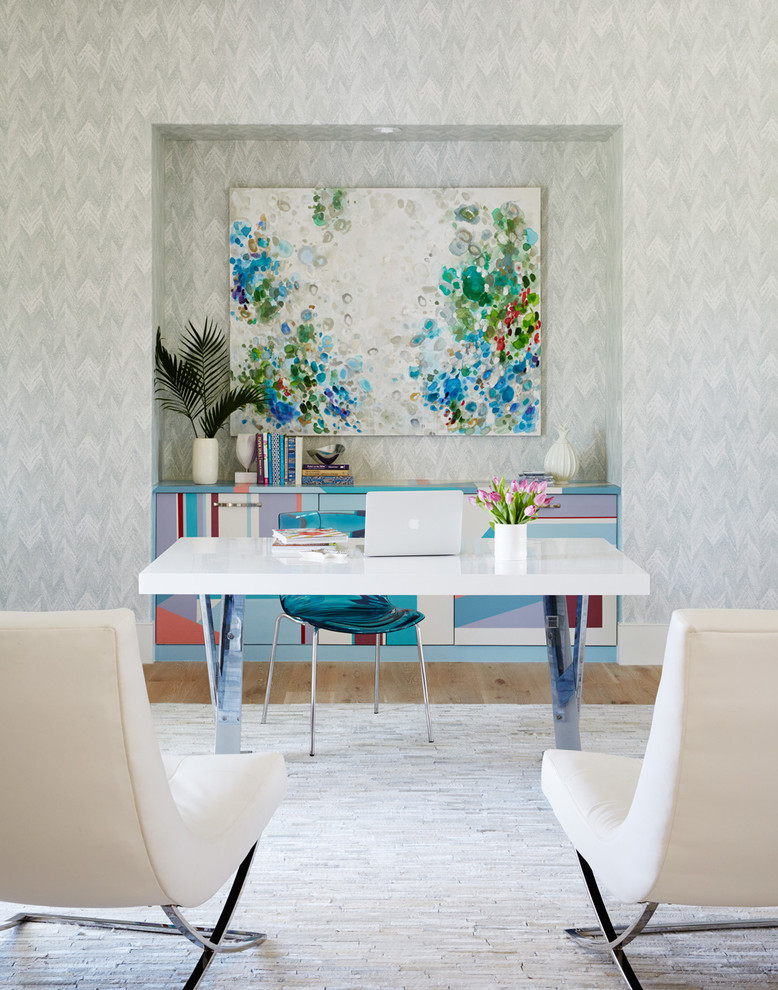 office decor ideas for work carpet chairs desk plant flowers books painting contemporary home office