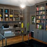 Office Decor Ideas For Work Modern Chair Shelves Books Desk Carpet Laptop Drawers Decorative Plant Chandelier