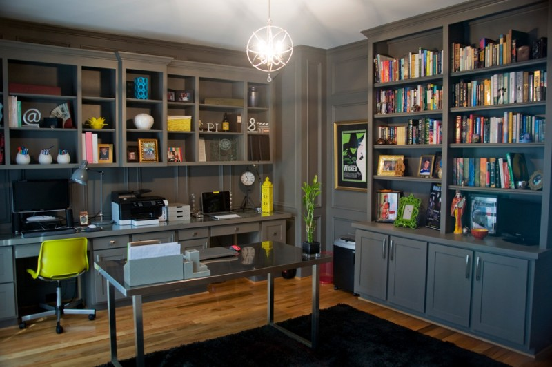 office decor ideas for work modern chair shelves books desk carpet laptop drawers decorative plant chandelier