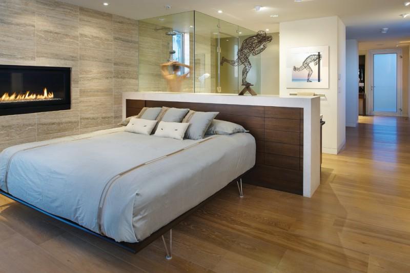 one bedroom cabin plans hardwood floors bed fireplace glass door ceiling lights headboard decorations contemporary design