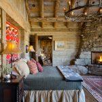 One Bedroom Cabin Plans Hardwood Floors Carpet Fireplace Sidetable Bed Rocking Chair Chandelier Lamps Decorations Rustic Design