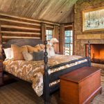 One Bedroom Cabin Windows Curtains Lamps Bed Pillows Wall Decor Bedside Tables Rustic Style Room
