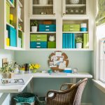 organization ideas for smal spaces wall cabinets built in desk chair basket trash bin rug hardwood floors transitional design