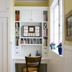organization ideas for small spaces chair hardwood floor study nook built in shelves white walls traditional design